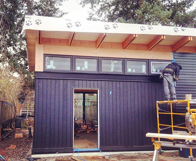 And because we haven't had an update in a while... the exterior is all but wrapped up at the butterfly house. . . . #butterflyroof #shousugiban  #burntwood #beauty #design #architecture #customhome #modernhome #pdxdesign #steel #exposedframing #buildsmalllivelarge #pnwmodern #pdxmodern