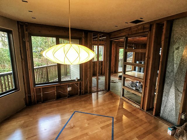 Demo underway at our Lake Oswego renovation project. . Easy to tell the team what to demo when every interior wall is coming out!! 👍 . . . #demo #demodays #renovation #reno #openplan #daylight #design #custom #interiors #interiordesign #pnwmodern #customhomes #pnwmodern #modernhome #pnwhome
