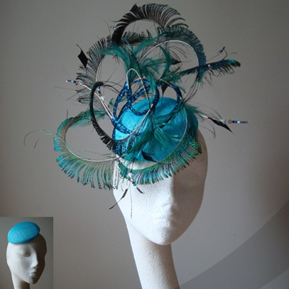 peacock sinamay fascinator