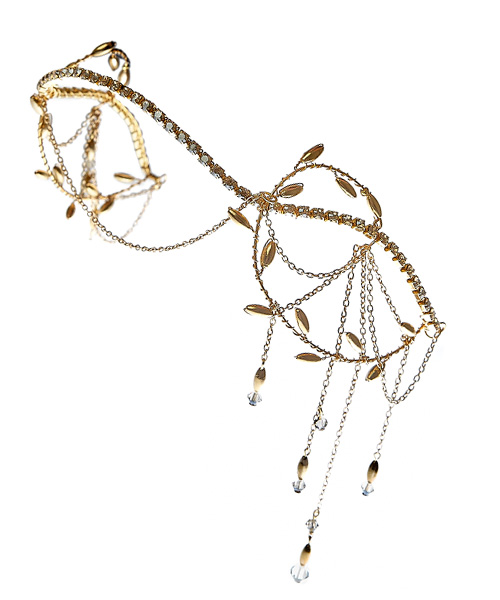 Selena Gold Boho Vintage forehead Circlet By Harriet Bespoke Bridal Hair Accessories.jpg