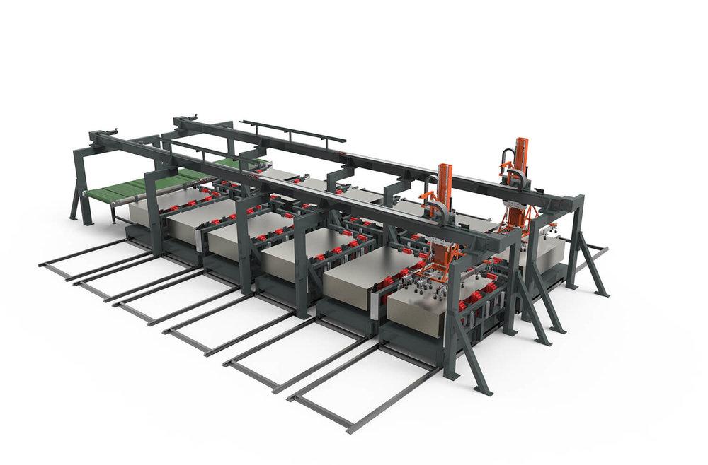 WEMO Machines invoer station met opslag handling module
