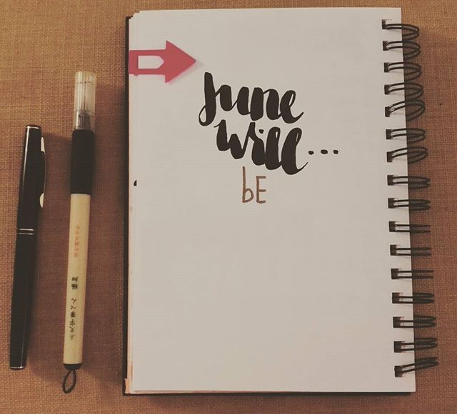 Making some predictions 🌚 what are your plans for June? #brushlettering #kuretake #bulletjournal #plans #adventure #roomsmiths