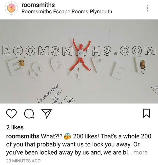 It blows my mind that we are actually locking people away in The Naked Eye, when it seems like only weeks ago we had the idea to jump headfirst into this weird and wonderful business! #escaperooms #roomsmiths #200likes