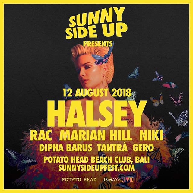 More acts for Day Two of #SSU18! See the alt-pop superstar @iamhalsey this 12 August along with @rac, @marianhillmusic, @nikizefanya, @diphabarus and Bali's own @tantrabali_ and GERO. Tickets are still available (for now), grab them quick! ⚡️#sunnysideupfest #ismayalive #potatoheadbali