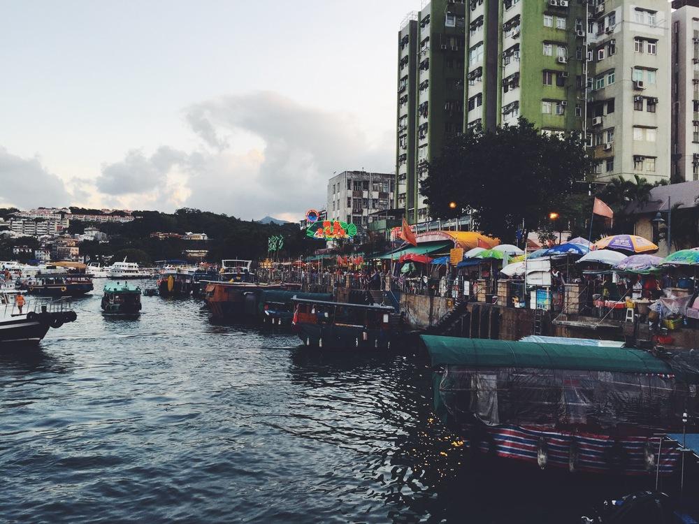 Approaching Sai Kung Pier via water taxi.