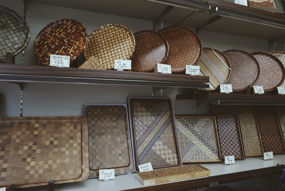 Yosegi-Zaiku products  on display at the souvenir shops.