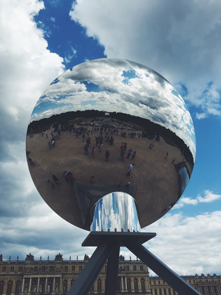 An art installation by Anish Kapoor in the Garden of Versailles.