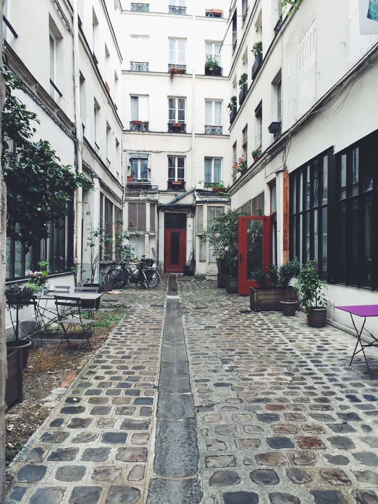 Slightly obsessed with the courtyard of our Airbnb rental in the Marais.
