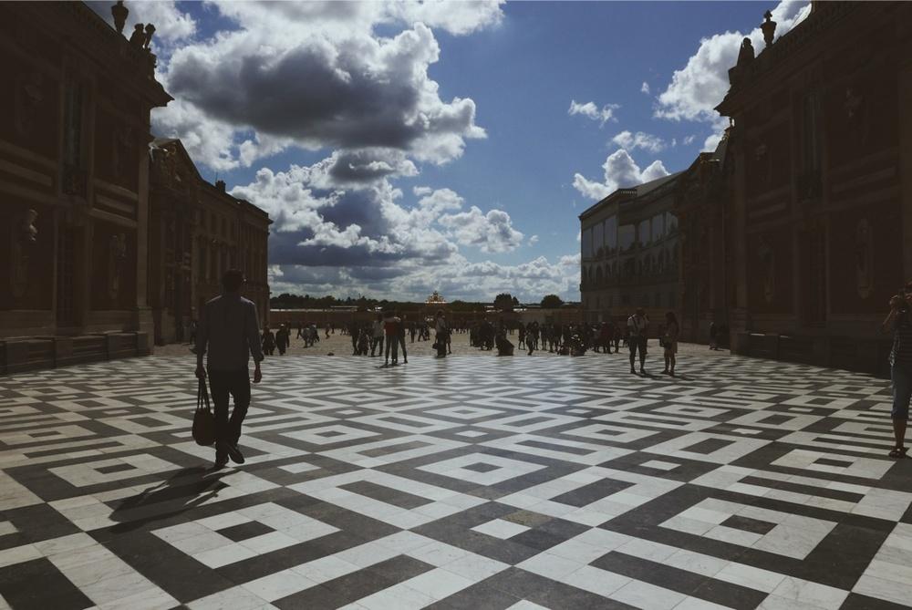Versailles' marble courtyard.