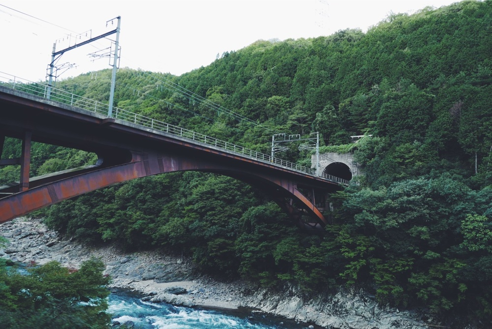A picturesque railway tunnel above the Hozu-gawa.