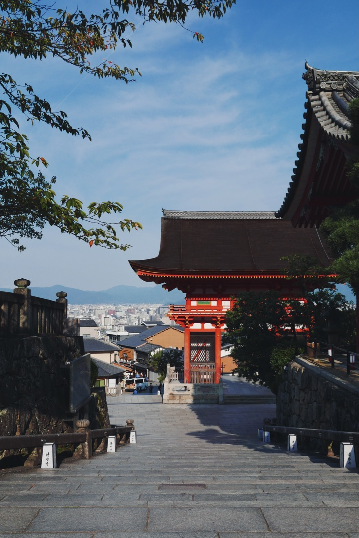 Looking down on the city through the Deva gate at Kiyomizu-dera.