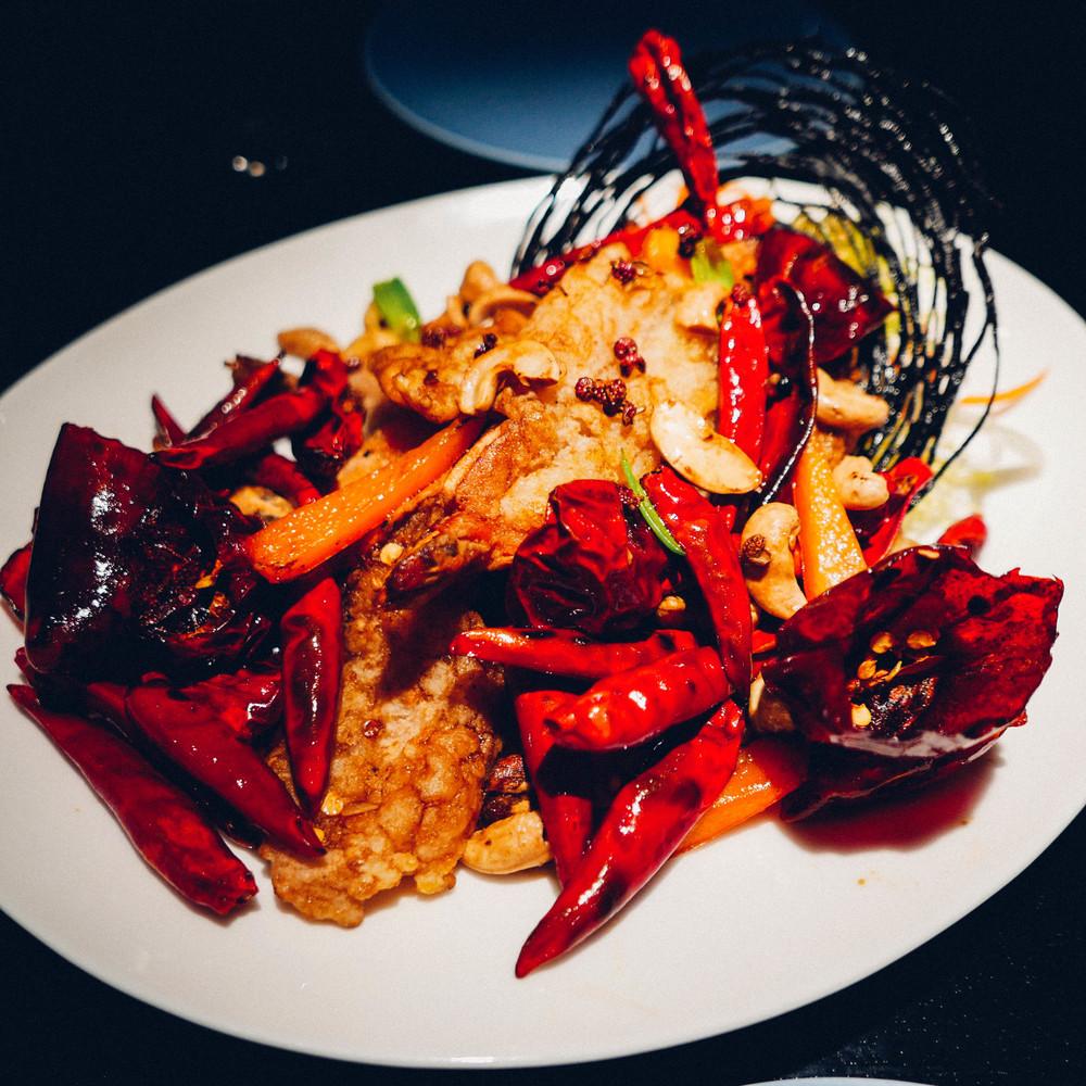 Crispy prawn for Christmas dinner at Hakkasan.
