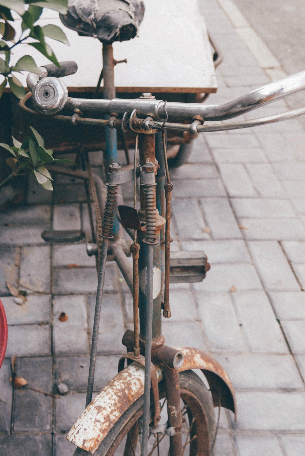 A well-loved bicycle.