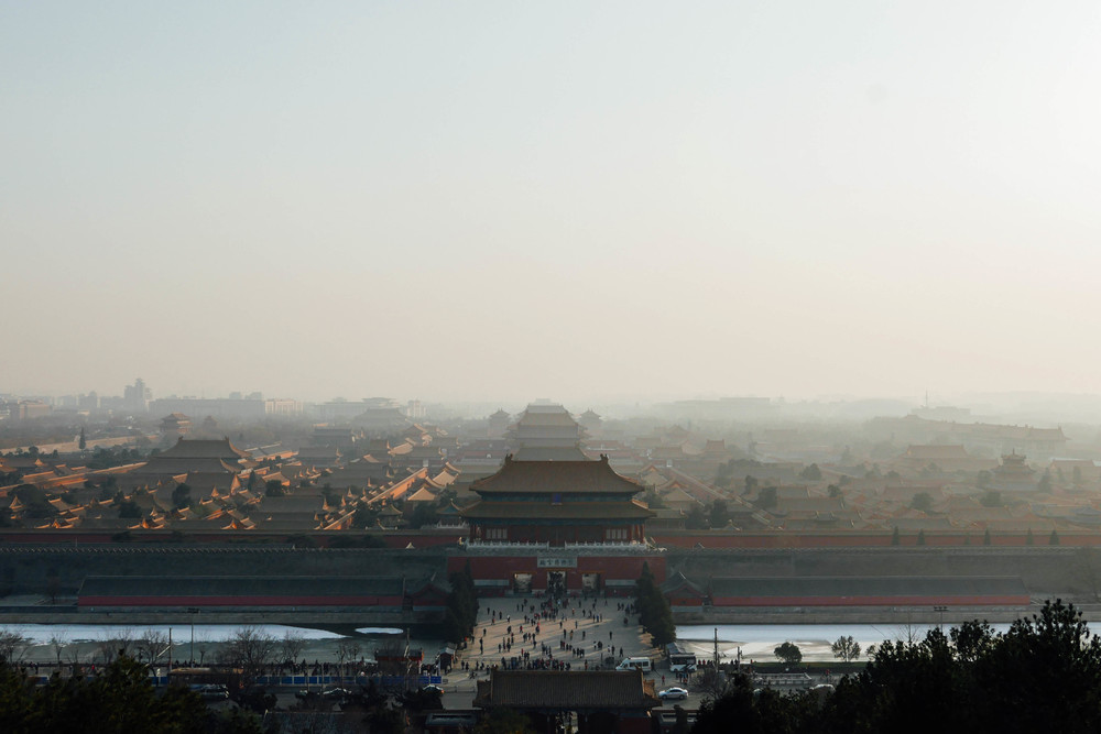 A bird's eye view of the Forbidden City's 980 buildings, as seen from Jing Shan Park.