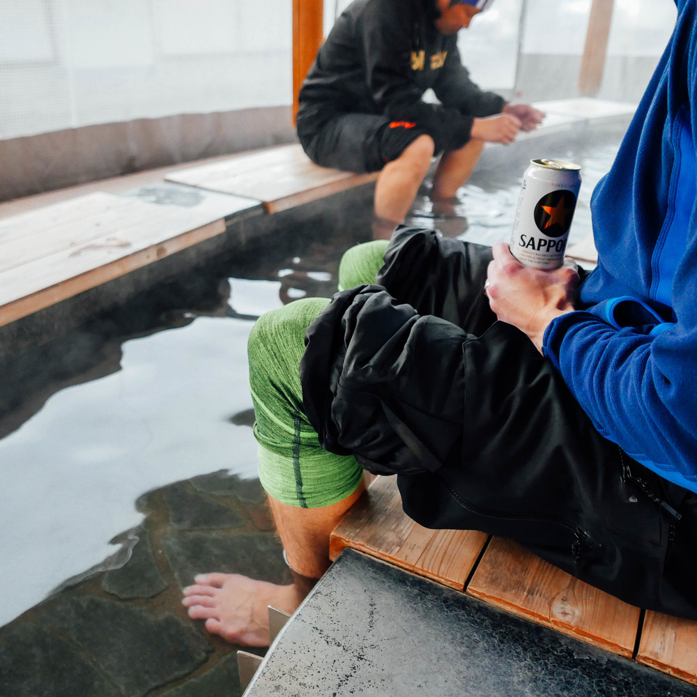 Apres-ski, Japanese style: foot baths and beer.
