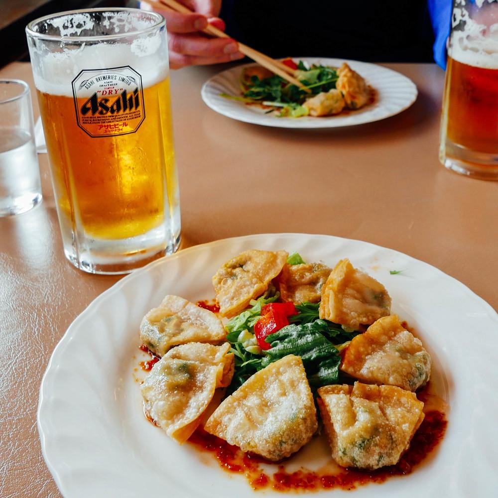 Lunch at Shiga Green:gyoza + Asahi