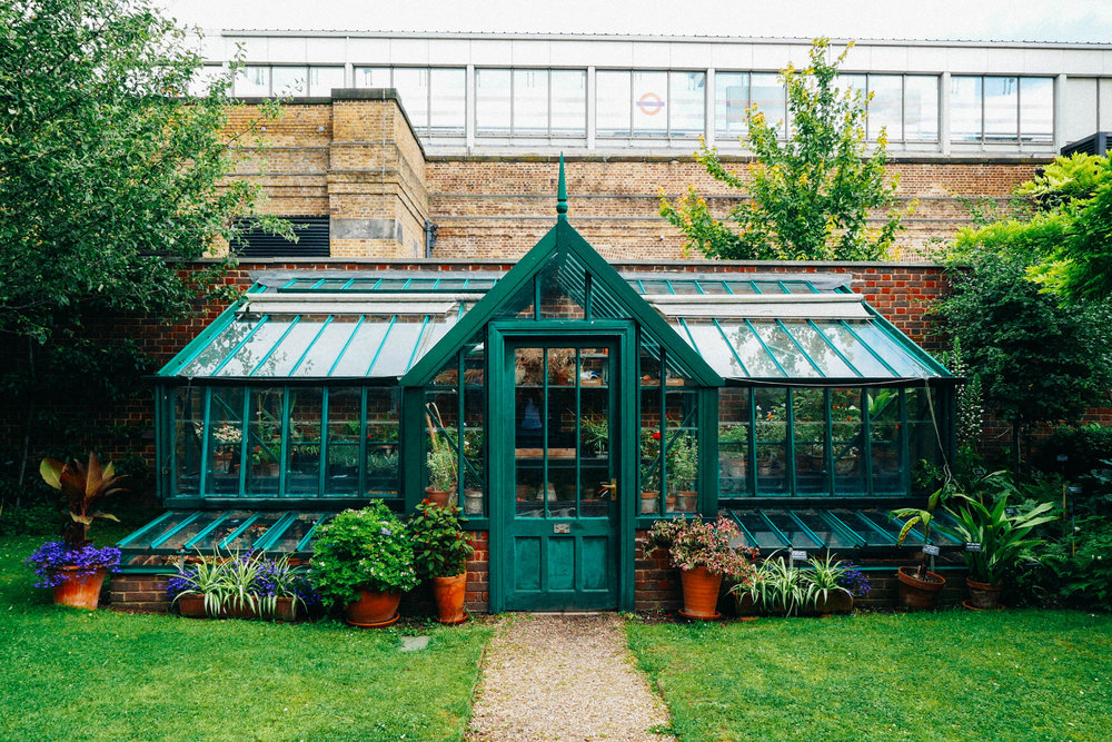 {The cutest little greenhouse at the Geffrye Musuem}