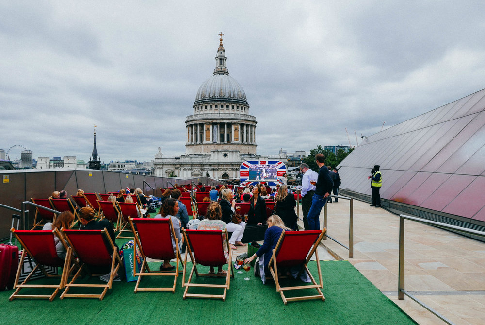 {Above: rooftop Wimbledon screening at Madison | Below: afternoon tea at Fortnum & Mason}