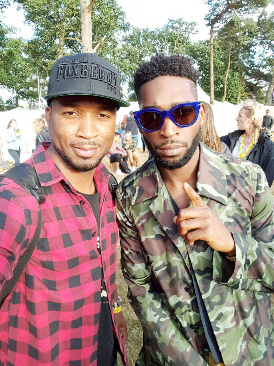 Tinie Tempah and friend at The V Festival, Virgin Media Backstage