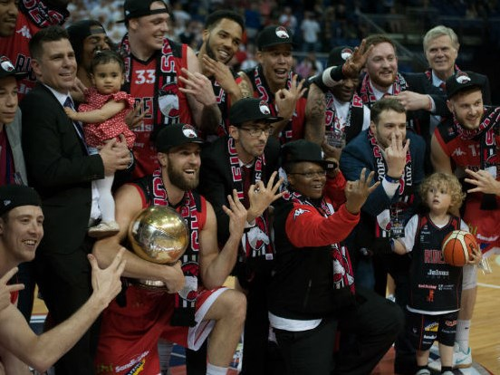 Leicester Riders players celebrate victory