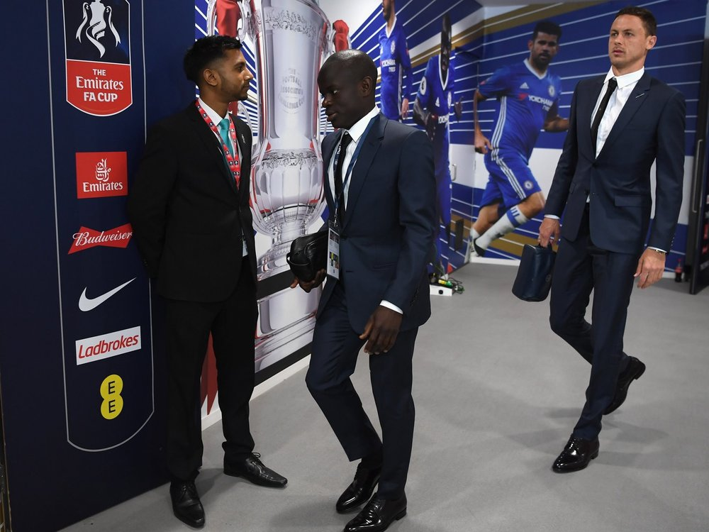 N'Golo Kante and Nemanja Matic arrive at Wembley in DIOR suit