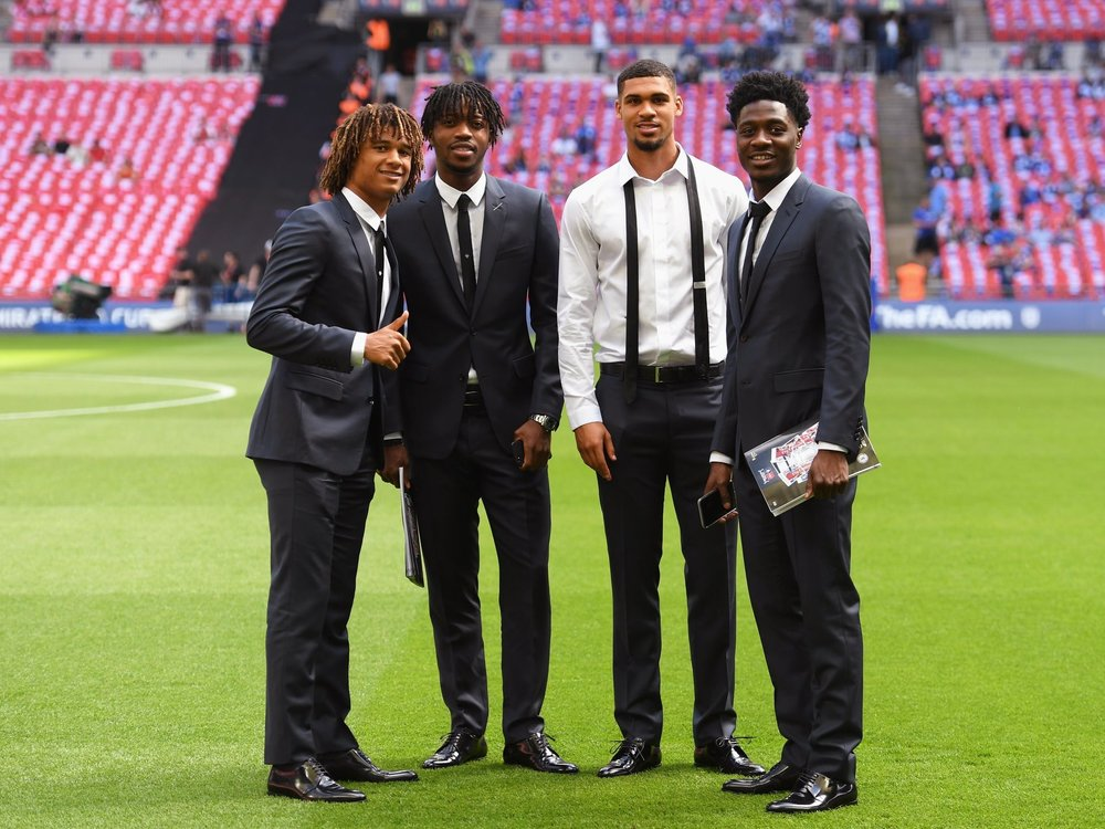 Chelsea FC young stars poses for photo during pitch inspection