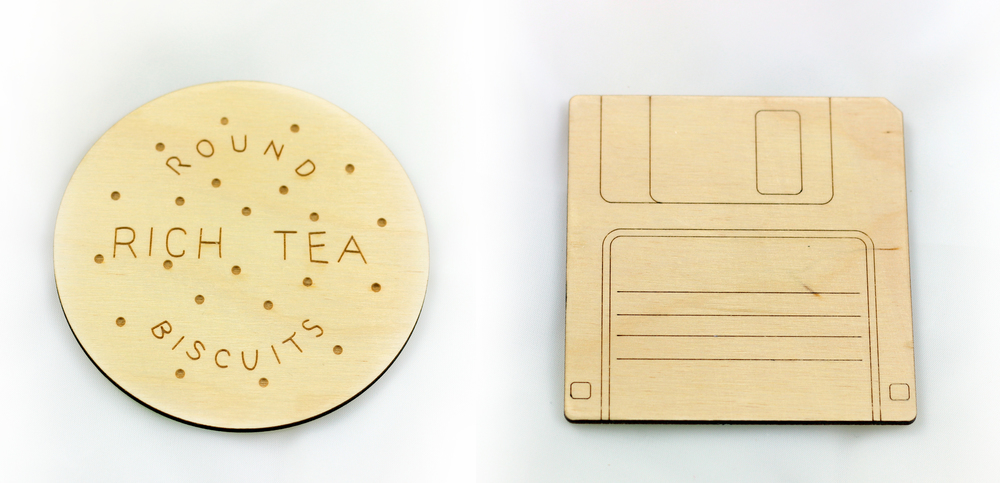 Rich Tea Biscuit and Floppy Disk Coasters