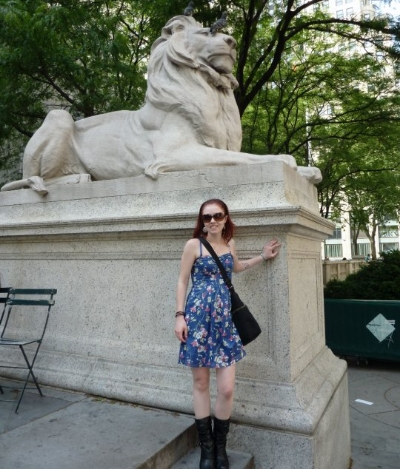 Posing with Fortitude on a visit to NYC in 2010.