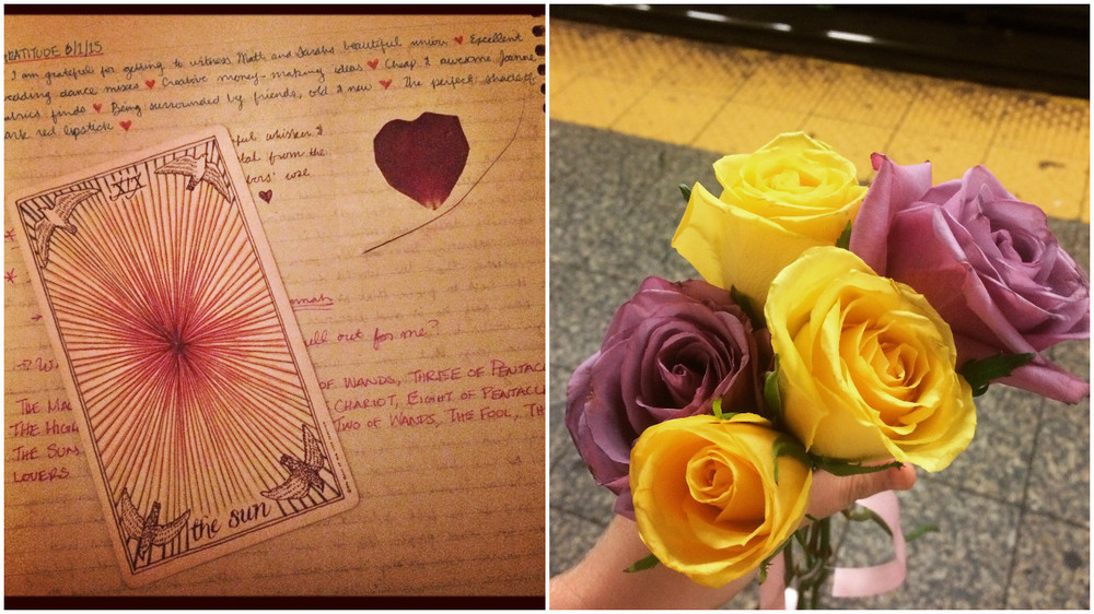 My journal, the tarot card Veronica drew for me at the start of The Underground, and the roses from our final adventure.
