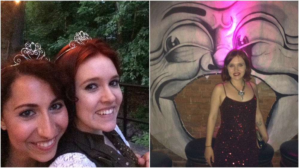 Left: Living like royalty at Ever After: The Musical. Right: All dressed up for a 1920s swing dance party.