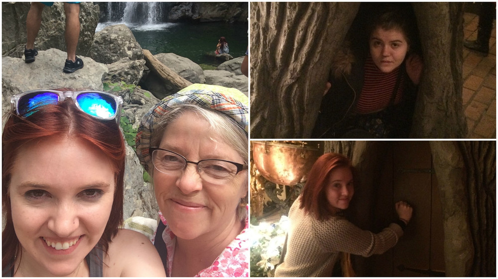 Left: Mama and me at Bash Bish Falls. Right: Sister and I goofing around at House on the Rock.