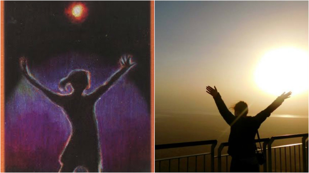 Me emulating Maggie Stiefvater's image of The Fool on top of Masada in Israel.