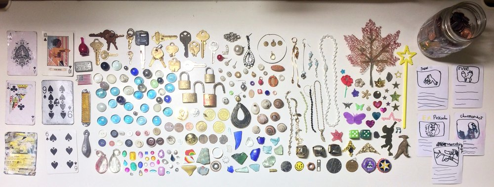 The majority of the treasures I've collected on my walks over the past year.