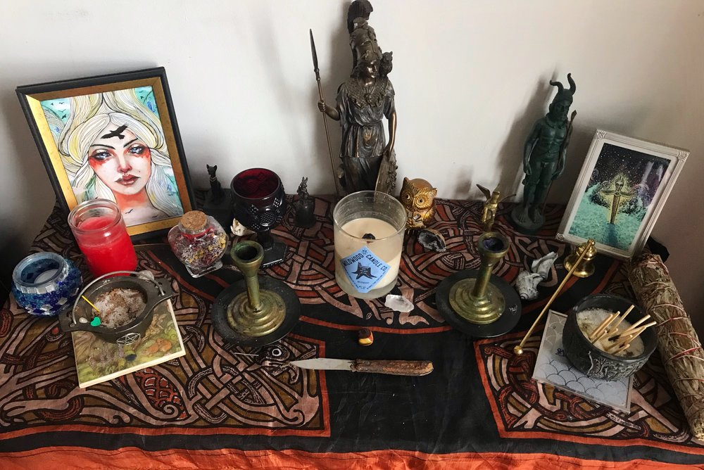 As an eclectic pagan-ish person, the deities represented on my altar are Norse, Greek, and Celtic. I care less about traditionalist reconstructionism and more about which deities represent the areas of my life that matter most to me.