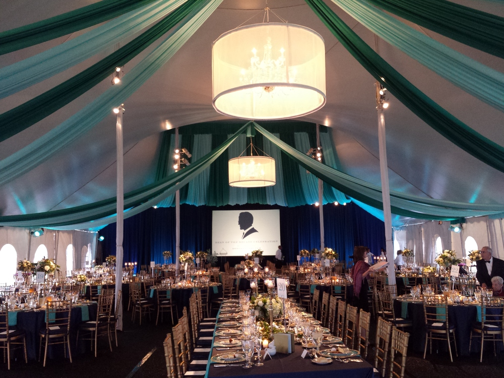 Portfolio . Tent Decor and Lighting . Custom Fabric . Darden UVA