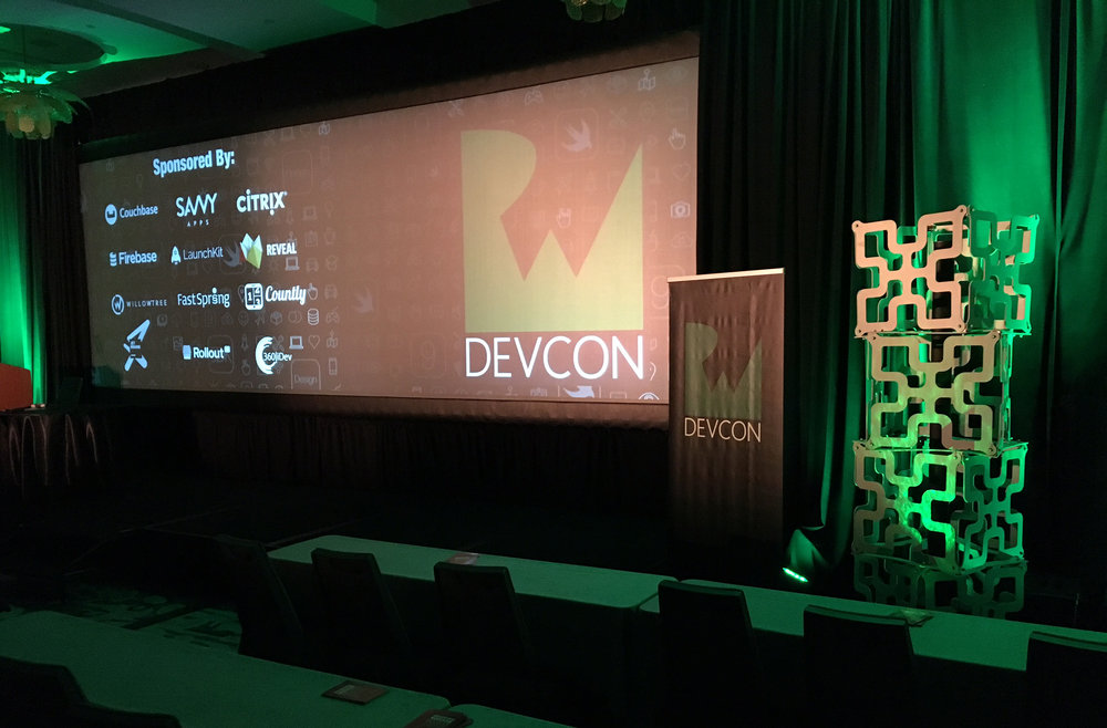 DevCon conference projection screen with Analog Way edge blending
