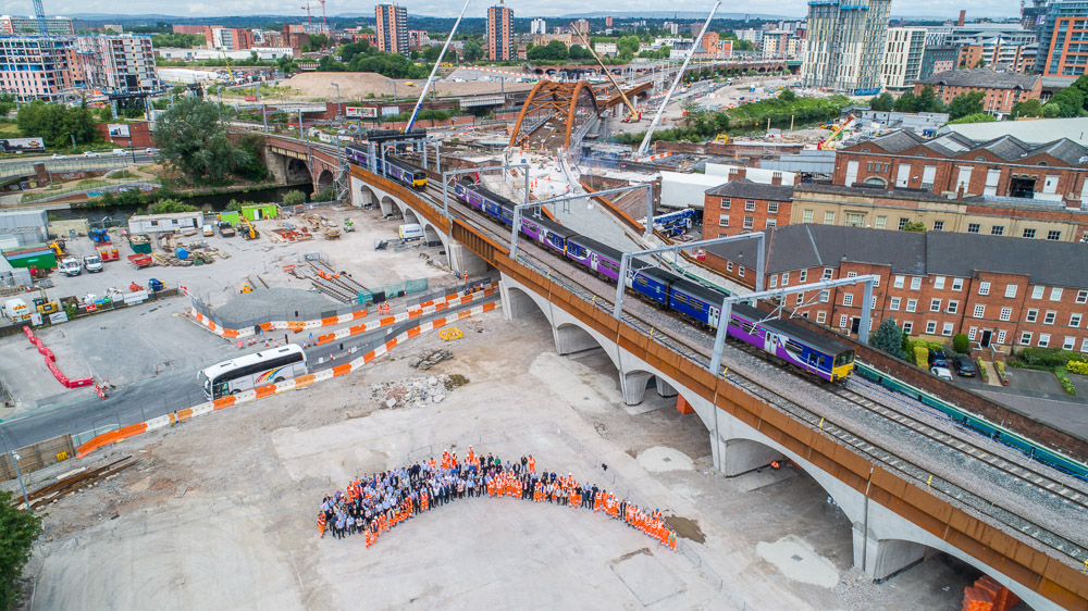 UAS group photograph of Ordsall Chord team