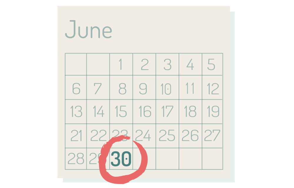 graphic of calendar displaying month of June with day thirty circled