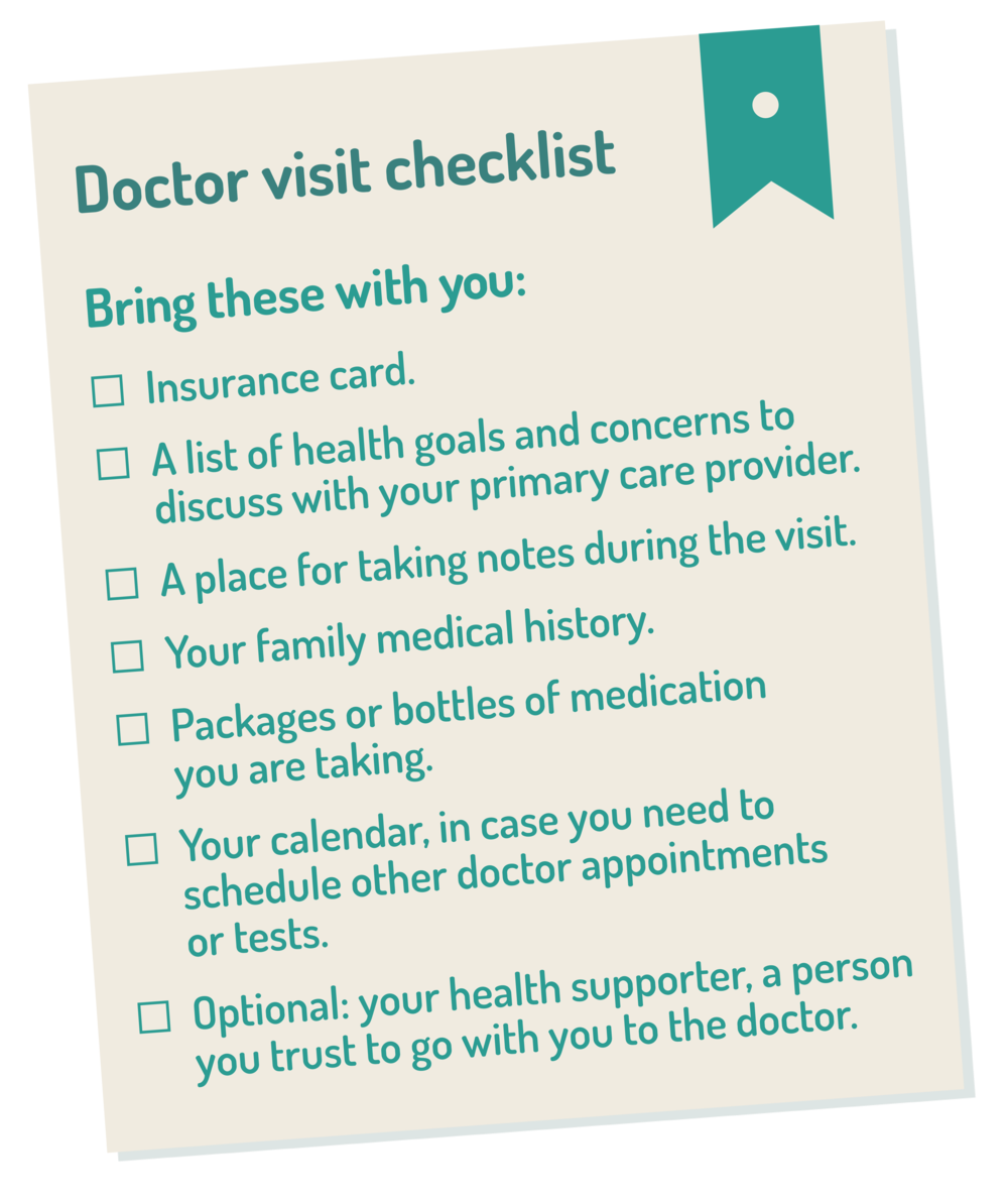graphic of a checklist for your first doctor visit