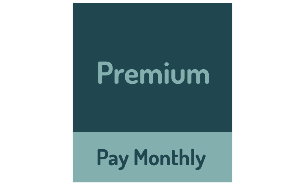 "graphic of text that says ""Premium, pay monthly"""