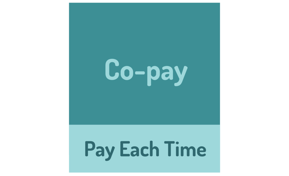 Graphic CO-PAY: A fixed dollar ($$) amount you pay when you get a health service, except for preventive services. A health service could be a doctor visit, a laboratory test, a prescription medicine or a visit to the emergency room.