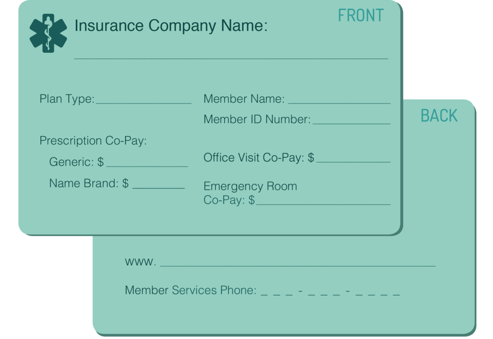 graphic of example insurance card showing the front and back