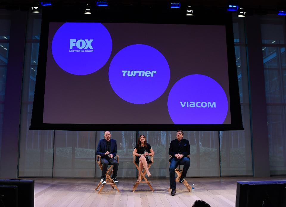 Joe Marchese of Fox, left, Donna Speciale of Turner, and Sean Moran of Viacom at the Times Center event for OpenAP. (Photo by Dave Kotinsky/Getty Images for New Creative Mix Inc.)