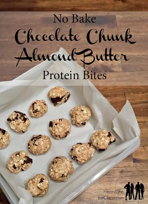 Clean Eat Recipe: No Bake Chocolate Chunk Almond Butter Protein Bites | He and She Eat Clean