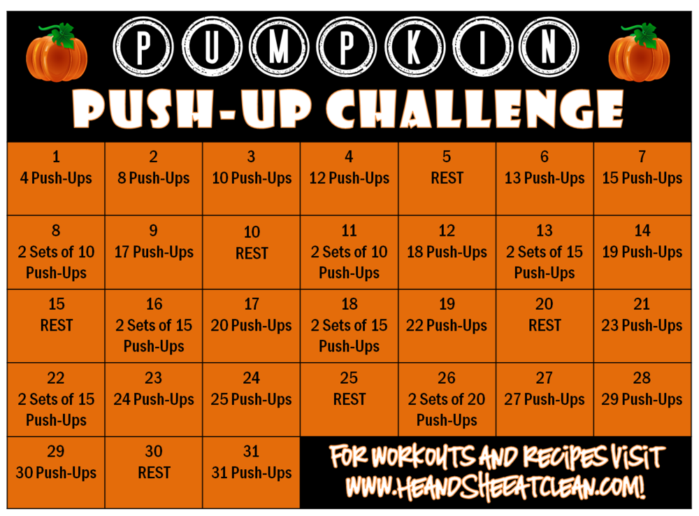 Pumpkin Push-Up Fitness Challenge | He and She Eat Clean