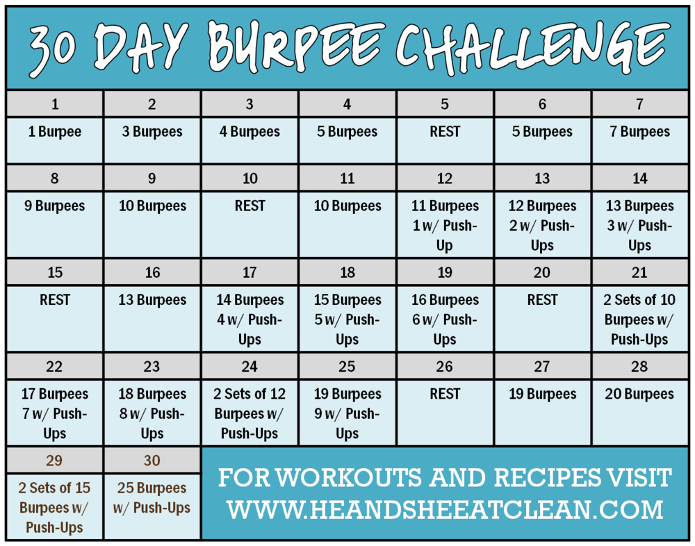 30 Day Burpee Challenge Calendar