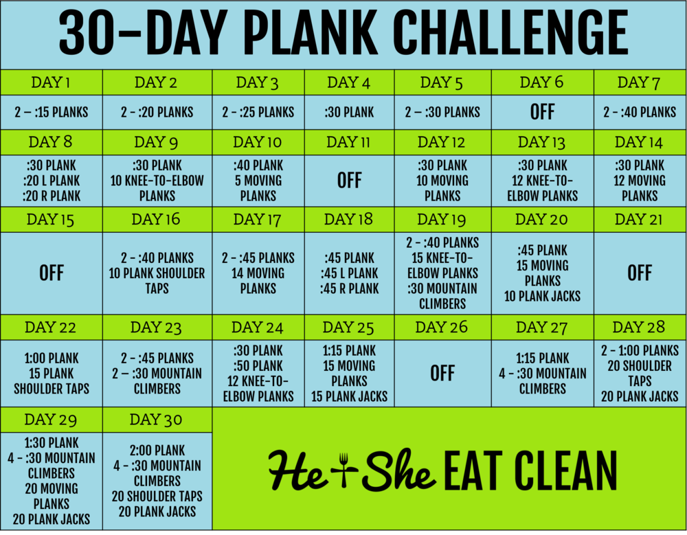 30 day plank challenge he she eat clean healthy recipes workout plans. Black Bedroom Furniture Sets. Home Design Ideas