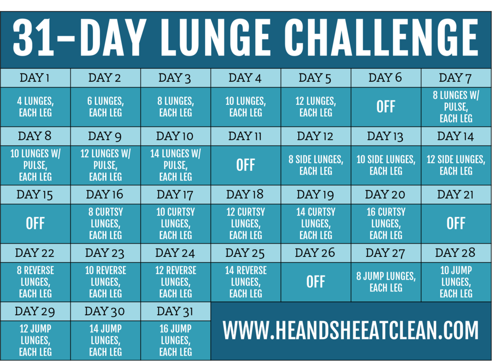 31-Day Lunge Challenge | He and She Eat Clean