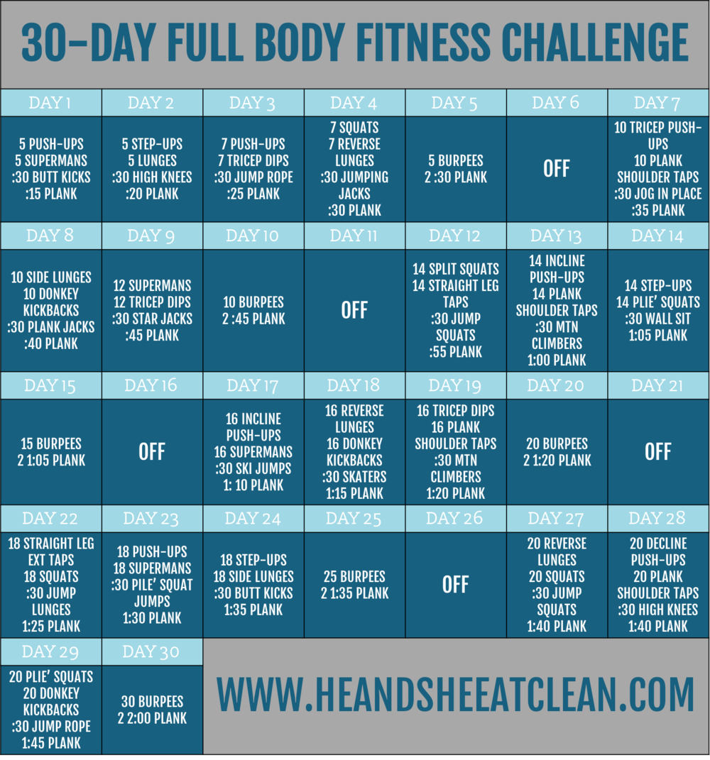 30-Day Full Body Fitness Challenge | He and She Eat Clean