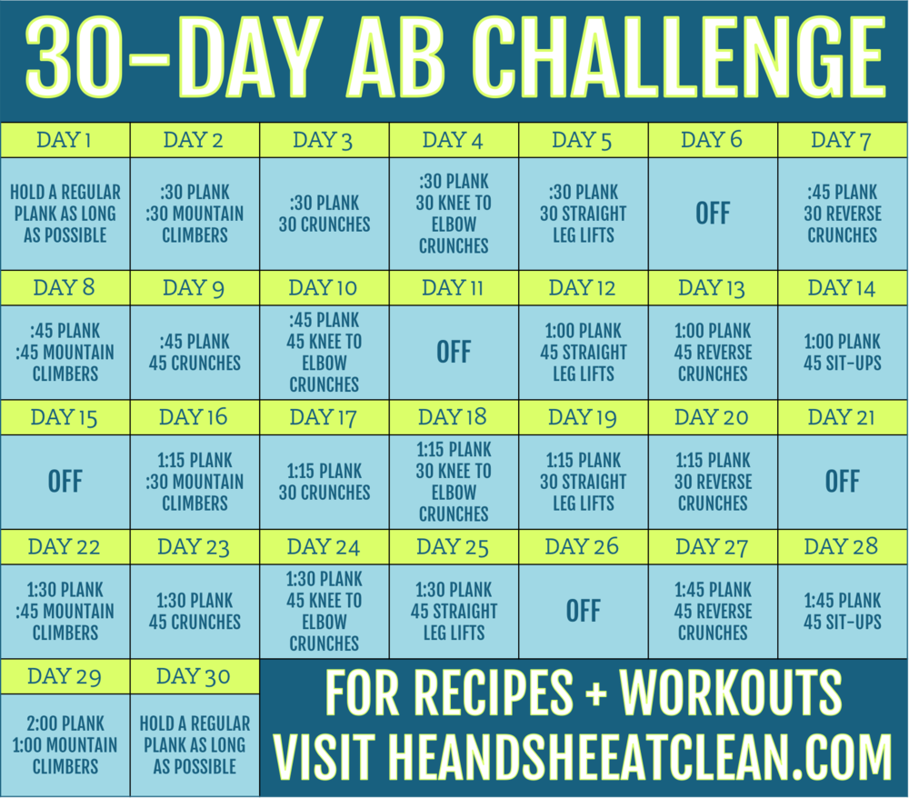 30 day ab challenge he she eat clean healthy recipes workout plans. Black Bedroom Furniture Sets. Home Design Ideas